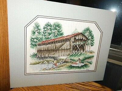 Covered Bridge Cross Stitch Panel Boy Fishing w/ Girl COMPLETED Handmade