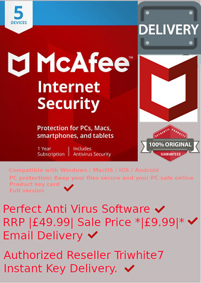 McAfee Internet Security 2019 5 Multi Devices 1 Year *2 Minute Delivery by Email