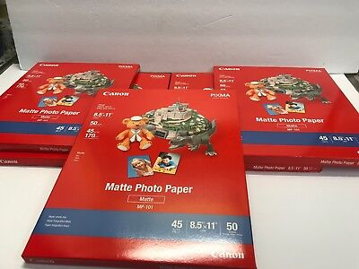 Lot of 5 Canon PIXMA Matte Photo Paper 8.5 x 11 Inches, Pack of 50 Sheets MP101