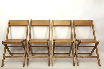 Vintage Snyder Antique Wooden Folding Chairs Light Oak Wood Set of 4