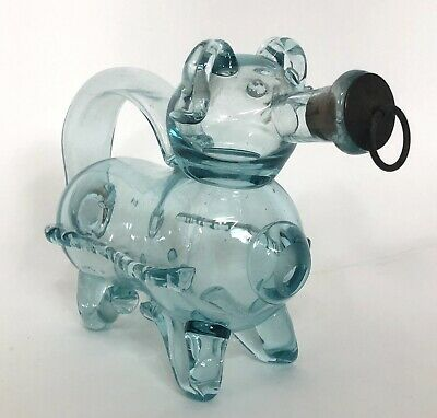 Vintage Antique Hand Blown Aqua Glass Pig Gin Decanter Rare