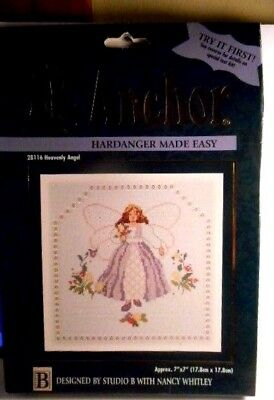 New Anchor Counted Cross-Stitch Kit Heavenly Angel Hardanger Made Easy