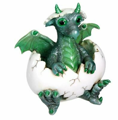 Green Baby Phineas Dragon Hatchling in Egg Fantasy Figurine
