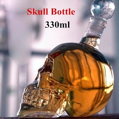 330ml Crystal Skull Head Empty Bottle Decanter Whiskey Vodka Cocktail Wine Glass