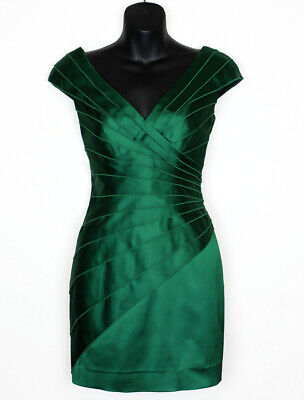a416b63e Kay Unger dress sz 2 xs extra small stretch green tiered bodycon sexy satin  date