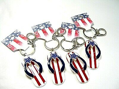 SUMMER FLIP FLOPS COLLECTION of KEY CHAIN KEY FOB TOTE BAG CLIPS- SET OF 4
