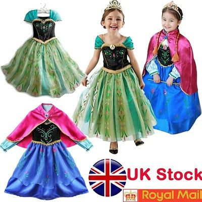 UK Kids dress Princess Queen Anna fashion Cosplay girls Costume Party Fancy Dres