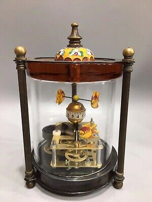 Chinese Old copper handmade gold fish Mechanical clock Watch Home decoration