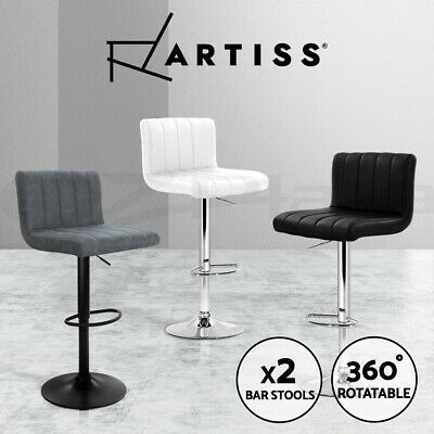 Artiss Bar Stools Kitchen Stool Barstools Leather Chairs Gas Lift Swivel x2