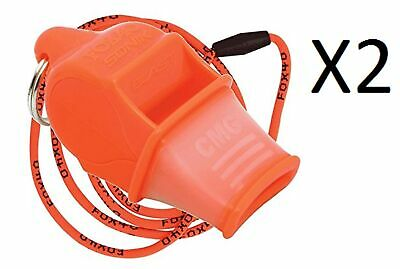 Fox 40 Sonik Blast CMG 2-Chamber Pealess Whistle with Lanyard, Orange (2-Pack)