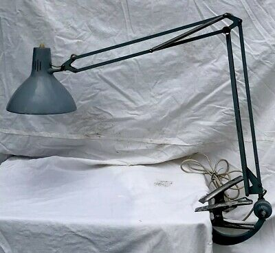 Vintage Luxo 1001 Machinists Lamp Swan Neck Fitting Tested Working Mid Century