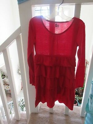 SO Girls Red Long Sleeve Dress w/Layered Skirt! Size 10