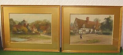 Pair Antique Paintings Superb Farmyard Country Landscapes Charles Wilkinson 1923