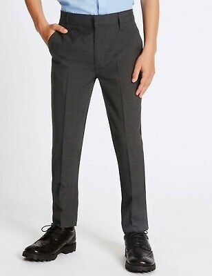 BOYS EX M & S CHARCOAL GREY SCHOOL TROUSERS AGE 2 - 14 YEARS + S R L Leg - T4