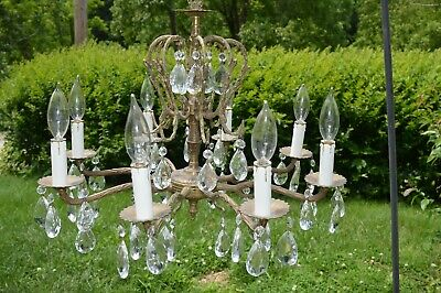Vintage 8 light Arm Glass Prism Crystals Chandelier Made in Spain complete Orig.