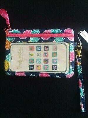 """New NWT Simply Southern Cell Phone Wristlet Bag Pineapple 6"""" x 4"""""""