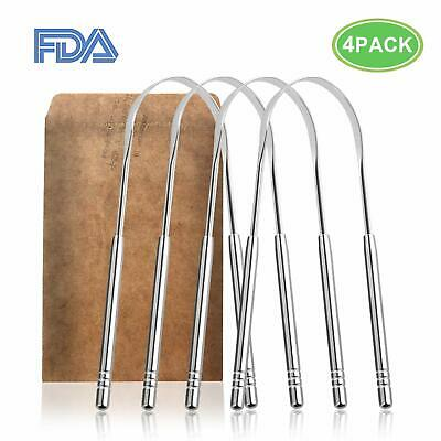 4 pack Pure Stainless Steel Metal Tongue Scraper Cleaner Remove Bad Breath