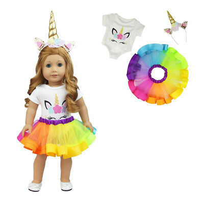Unicorn Rainbow Dress Jumpsuit Outfits for American 18 Inch Girl Doll + Headband