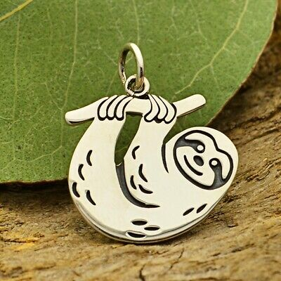Sloth Charm animal Sloths Pendant for Bracelet Necklace .925 Sterling Silver