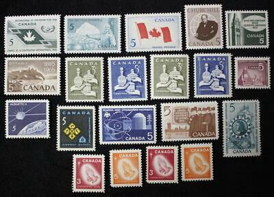 Canada 1965 & 1966 Complete Year Sets, MNH OG, 20 Issues Including All Tags