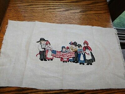Amish Holding American Flag Cross Stitch Panel COMPLETED Handmade