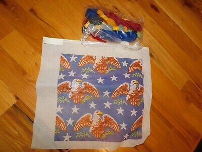 Patriotic Eagles with Stars Needlepoint Canvas w/ Yarn Vintage