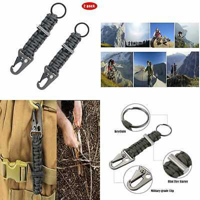 Paracord Keychain W Carabiner Military Braided Lanyard Ring Hook Clip For Keys K