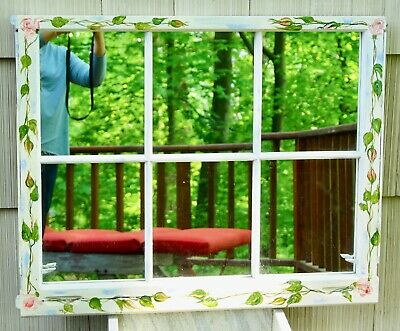 Mirror Made from Antique Six Pane Window Cottage Chick Farm House Hand Painted