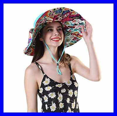 5a1d36a36 WOMEN'S FOLDABLE FLOPPY Reversible Travel Beach Sun Visor Ha BLUE ...
