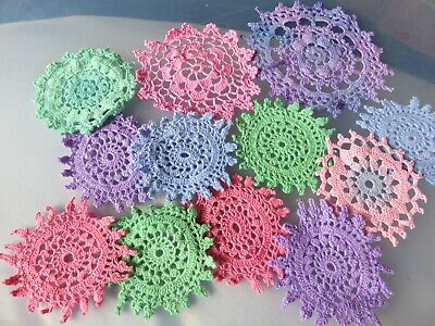 12 Crochet motifs mini doilies 6-9 cm  purple green pinks n blue some variegated