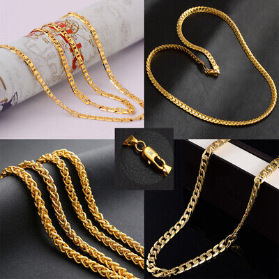 "Fashion  Real 18K Stamped Yellow Gold Filled Necklace Bracelet Jewelry 21""&8"""