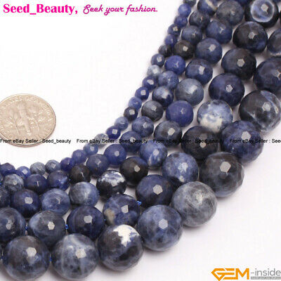 Natural Round Faceted Blue Sodalite Gemstone Loose Beads For Jewelry Making 15""