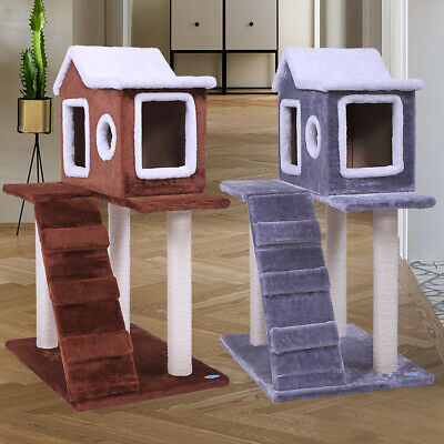 36'' Cat Tree with Snow House Pets Cat Ladder Kitten Tree Furniture Scratching