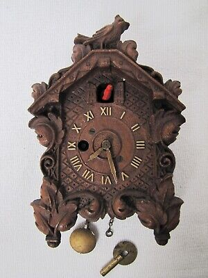 Vintage Miniature Cuckoo Clocks By Keebler-German with Key.