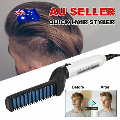 Quick Beard Straightener Multifunctional Hair Comb Curling Curler Show Cap Men9Y