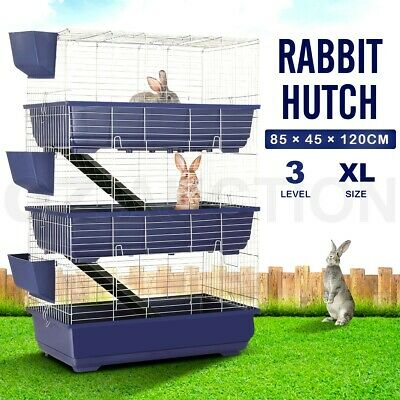 3 Level Rabbit Cage Hutch Metal Cat Ferret Guinea Pig House Animal Pet Crate