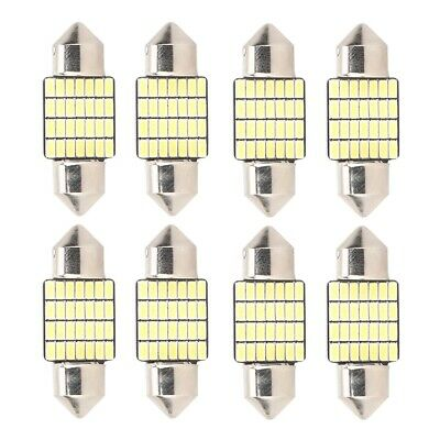 8pcs Festoon-3014 31mm 28SMD LED Dome Lights License Plate Roof Map Lamp Bulbs