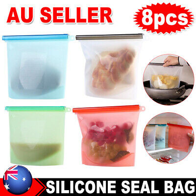 8X Food Storage Seal Bag Set Airtight Container Silicone Preservation Reusable