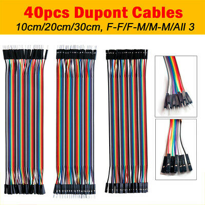 40Pcs Dupont Cable Lead Row Arduino Breadboard Jump Wire M-F M-M F-F 10/20/30CM