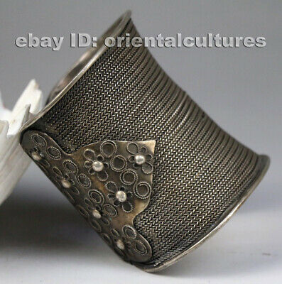 Vintage tribal exotic ethnic chinese handmade filligree miao silver bracelet