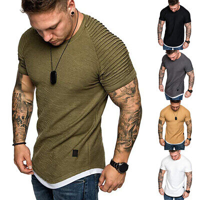 US Mens Slim Fit Shirts Solid Short Sleeve Casual T-shirt Tee Tops Muscle Tee
