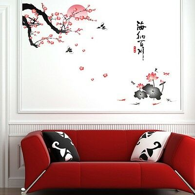 """Chinese Style""""海纳百川""""Plum Blossom Lotus Flower Decal Art Removable Wall Stickers"""