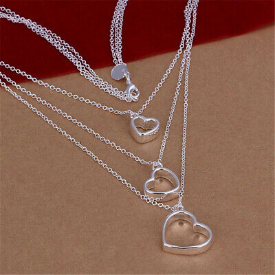 silver 925 nice charms heart chain women necklace Jewelry fashion wedding N038