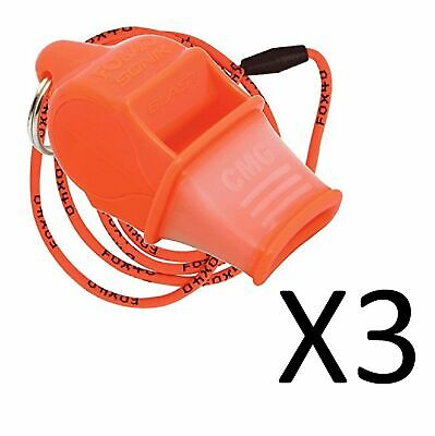 Fox 40 Sonik Blast CMG 2-Chamber Pealess Whistle with Lanyard, Orange (3-Pack)