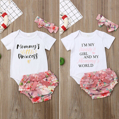c6f31672d UK 3PCS Newborn Baby Girl Clothes Mommy's Little Princess Tops+Shorts  Outfit Set