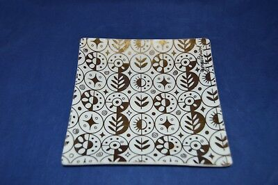 Mid Century Modern Georges Briard Glass Square Plate with Gold Atomic Design