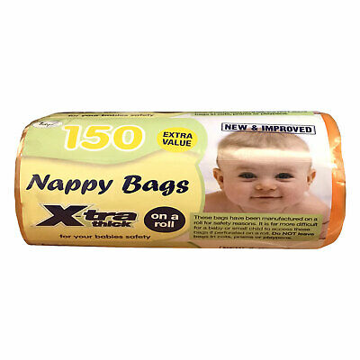 TidyZ 150 Nappy Bags Roll Strong Thick Baby Waste Changing Sacks Tie Handles