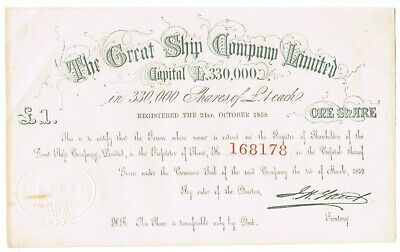 The Great Ship Company Limited share certificate 1859