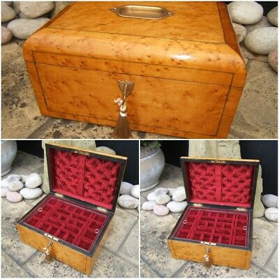 Wonderful 19C Rare Antique Victorian Figured Maple Jewellery Box - Fab Interior