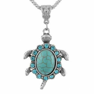Retro Boho Turquoise Crystal Turtle Pendant Necklace Silver Chain Hot Women Gift